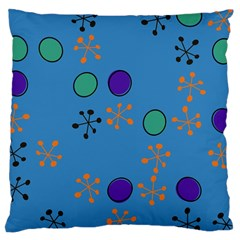 Circles And Snowflakes Large Cushion Case (two Sides) by LalyLauraFLM