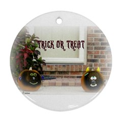 Black Ghoulish Pumpkins In White Matte Round Ornament (two Sides)  by gothicandhalloweenstore