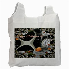 Creepy Pumpkin Fractal Recycle Bag (two Side)  by gothicandhalloweenstore