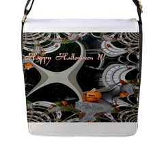 Creepy Pumpkin Fractal Flap Messenger Bag (l)  by gothicandhalloweenstore