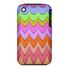 Pastel Waves Pattern Apple Iphone 3g/3gs Hardshell Case (pc+silicone) by LalyLauraFLM