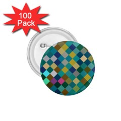 Rhombus Pattern In Retro Colors 1 75  Button (100 Pack)  by LalyLauraFLM