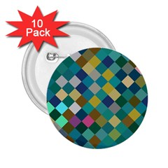 Rhombus Pattern In Retro Colors 2 25  Button (10 Pack) by LalyLauraFLM