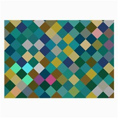 Rhombus Pattern In Retro Colors Large Glasses Cloth (2 Sides) by LalyLauraFLM