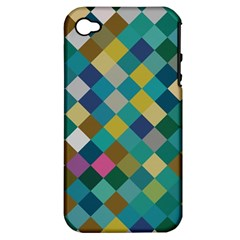 Rhombus Pattern In Retro Colors Apple Iphone 4/4s Hardshell Case (pc+silicone) by LalyLauraFLM