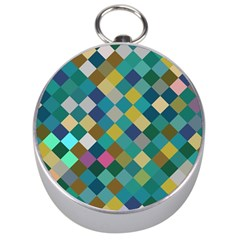 Rhombus Pattern In Retro Colors Silver Compass by LalyLauraFLM