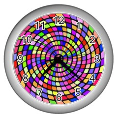 Colorful Whirlpool Wall Clock (silver) by LalyLauraFLM