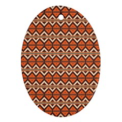 Brown Orange Rhombus Pattern Ornament (oval) by LalyLauraFLM