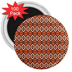 Brown Orange Rhombus Pattern 3  Magnet (100 Pack) by LalyLauraFLM