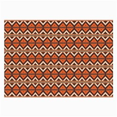 Brown Orange Rhombus Pattern Large Glasses Cloth (2 Sides) by LalyLauraFLM
