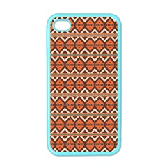 Brown Orange Rhombus Pattern Apple Iphone 4 Case (color) by LalyLauraFLM