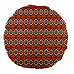 Brown Orange Rhombus Pattern Large 18  Premium Round Cushion  by LalyLauraFLM