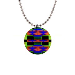 Distorted Shapes Pattern 1  Button Necklace by LalyLauraFLM