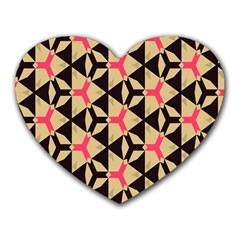 Shapes In Triangles Pattern Heart Mousepad by LalyLauraFLM