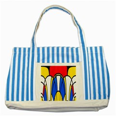 Colorful Distorted Shapes Striped Blue Tote Bag by LalyLauraFLM