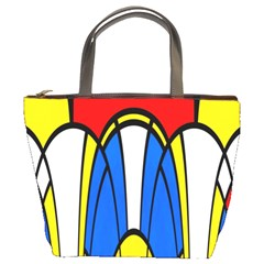 Colorful Distorted Shapes Bucket Bag by LalyLauraFLM