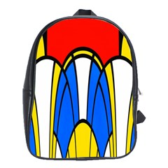 Colorful Distorted Shapes School Bag (large) by LalyLauraFLM