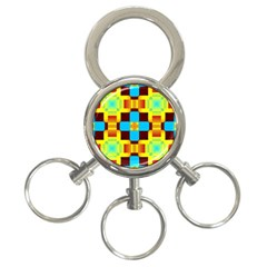 Abstract Yellow Flowers 3 Ring Key Chain by LalyLauraFLM