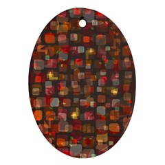 Floating Squares Oval Ornament (two Sides) by LalyLauraFLM
