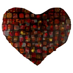 Floating Squares Large 19  Premium Heart Shape Cushion by LalyLauraFLM