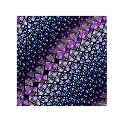 Dusk Blue And Purple Fractal Small Satin Scarf (square) by KirstenStarFashion