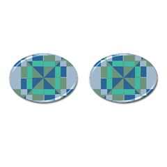 Green Blue Shapes Cufflinks (oval) by LalyLauraFLM