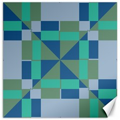 Green Blue Shapes Canvas 20  X 20