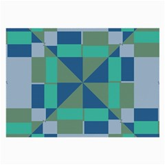 Green Blue Shapes Large Glasses Cloth (2 Sides) by LalyLauraFLM