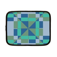 Green Blue Shapes Netbook Case (small) by LalyLauraFLM
