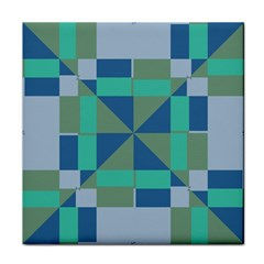 Green Blue Shapes Face Towel by LalyLauraFLM