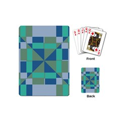 Green Blue Shapes Playing Cards (mini) by LalyLauraFLM