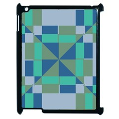 Green Blue Shapes Apple Ipad 2 Case (black) by LalyLauraFLM