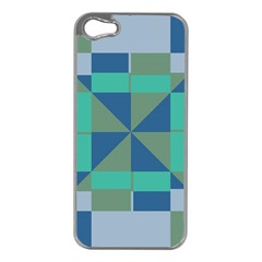 Green Blue Shapes Apple Iphone 5 Case (silver) by LalyLauraFLM