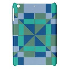 Green Blue Shapes Apple Ipad Mini Hardshell Case by LalyLauraFLM