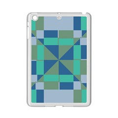 Green Blue Shapes Apple Ipad Mini 2 Case (white) by LalyLauraFLM
