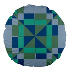Green Blue Shapes Large 18  Premium Round Cushion  by LalyLauraFLM