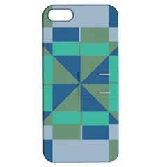 Green Blue Shapes Apple Iphone 5 Hardshell Case With Stand by LalyLauraFLM