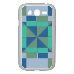 Green Blue Shapes Samsung Galaxy Grand Duos I9082 Case (white) by LalyLauraFLM