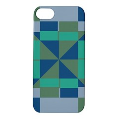 Green Blue Shapes Apple Iphone 5s Hardshell Case by LalyLauraFLM