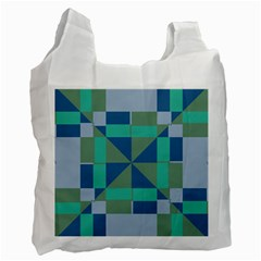 Green Blue Shapes Recycle Bag by LalyLauraFLM
