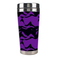 Mauve Black Waves Stainless Steel Travel Tumbler by LalyLauraFLM