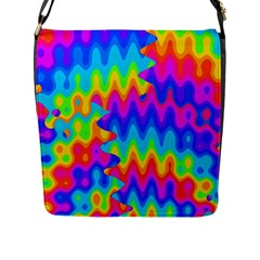 Amazing Acid Rainbow Flap Messenger Bag (l)  by KirstenStar