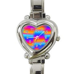 Psychedelic Rainbow Heat Waves Heart Italian Charm Watch by KirstenStar