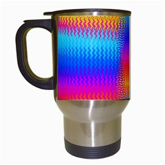 Psychedelic Rainbow Heat Waves Travel Mugs (white) by KirstenStar