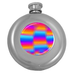 Psychedelic Rainbow Heat Waves Round Hip Flask (5 Oz) by KirstenStar