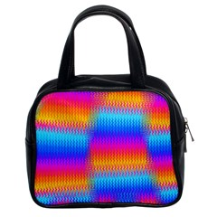 Psychedelic Rainbow Heat Waves Classic Handbags (2 Sides) by KirstenStar