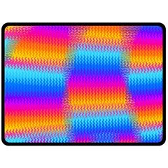 Psychedelic Rainbow Heat Waves Fleece Blanket (large)  by KirstenStar