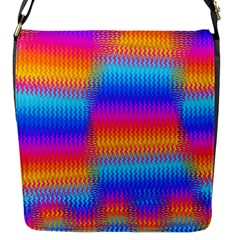 Psychedelic Rainbow Heat Waves Flap Messenger Bag (s) by KirstenStar