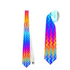 Psychedelic Rainbow Heat Waves Neckties (two Side)  by KirstenStarFashion