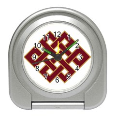Buddhist Endless Knot Auspicious Symbol Travel Alarm Clock by CrypticFragmentsColors